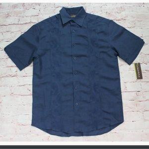 Men's Cubavera Button Up Shirt Blue Size Small